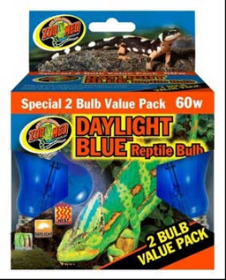 Zoo Med Daylight Blue Reptile Bulb, 60w 2pk